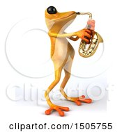 Poster, Art Print Of 3d Yellow Frog Playing A Saxophone On A White Background