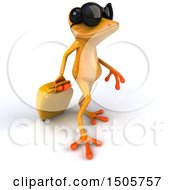 3d Yellow Frog Traveler On A White Background