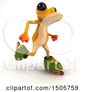Clipart Of A 3d Yellow Frog Roller Blading On A White Background Royalty Free Illustration