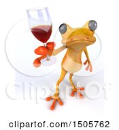 Clipart Of A 3d Yellow Frog Holding A Wine Glass On A White Background Royalty Free Illustration by Julos