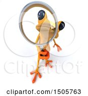 3d Yellow Frog Looking Through A Magnifying Glass On A White Background