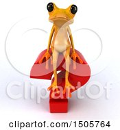 3d Yellow Frog With A Question Mark On A White Background