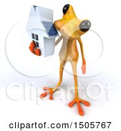 3d Yellow Frog Holding A House On A White Background