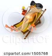 3d Yellow Frog Sun Bathing And Drinking A Cocktail On A White Background