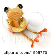 3d Yellow Frog Sitting With An Inner Tube On A White Background