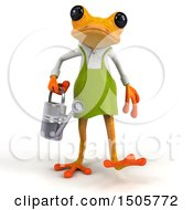 3d Yellow Frog Gardener Holding A Watering Can On A White Background