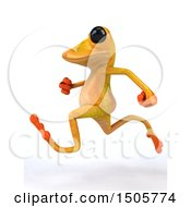 3d Yellow Frog Running On A White Background