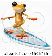 3d Yellow Frog Surfing On A White Background