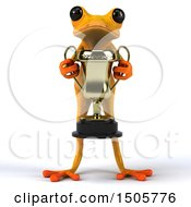 3d Yellow Frog Holding A Trophy On A White Background