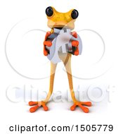Poster, Art Print Of 3d Yellow Frog Holding A Euro On A White Background