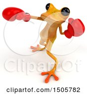 3d Yellow Frog Boxer Punching On A White Background