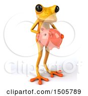 Poster, Art Print Of 3d Yellow Frog Holding A Piggy Bank On A White Background