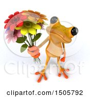 3d Yellow Frog Holding Flowers On A White Background
