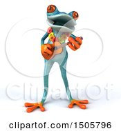 Poster, Art Print Of 3d Hawaiian Blue Frog Playing A Ukulele On A White Background