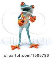 3d Hawaiian Blue Frog Playing A Ukulele On A White Background