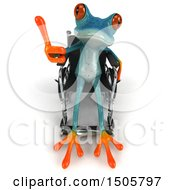 Clipart Of A 3d Blue Frog In A Wheelchair On A White Background Royalty Free Illustration