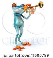 Poster, Art Print Of 3d Blue Frog Playing A Trumpet On A White Background