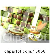 Orange Chair By A Glass Coffee Table In A Modern Office Lobby Or Living Room With A Green And Brown Cube Wall