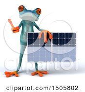 Poster, Art Print Of 3d Blue Frog Holding A Solar Panel On A White Background
