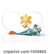 3d Blue Frog Prince Holding A Sun On A White Background