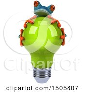 Poster, Art Print Of 3d Blue Frog Hugging A Light Bulb On A White Background