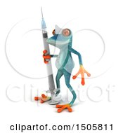 Clipart Of A 3d Blue Frog Nurse Holding A Syringe On A White Background Royalty Free Illustration