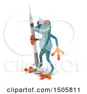 3d Blue Frog Nurse Holding A Syringe On A White Background