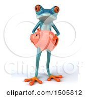 3d Blue Frog Holding A Piggy Bank On A White Background