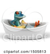 3d Blue Frog With An Inner Tube In A Bath Tub On A White Background