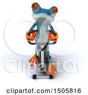 3d Blue Frog Exercising On A Spin Bike On A White Background