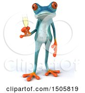 3d Blue Frog Holding A Glass Of Champagne On A White Background
