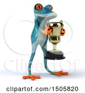 3d Blue Frog Holding A Trophy On A White Background