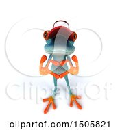 3d Blue Frog Forming A Heart With His Hands On A White Background