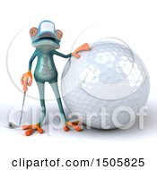 3d Blue Frog Golfer On A White Background
