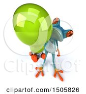 Poster, Art Print Of 3d Blue Frog Holding A Light Bulb On A White Background