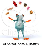 Clipart Of A 3d Fat Blue Frog Juggling Junk Food On A White Background Royalty Free Illustration