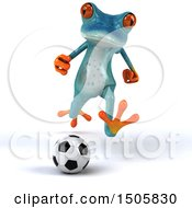 3d Blue Frog Playing Soccer On A White Background