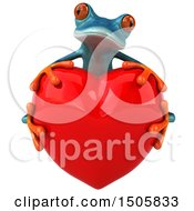 Poster, Art Print Of 3d Blue Frog Hugging A Heart On A White Background