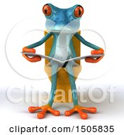Clipart Of A 3d Blue Frog Reading On A Toilet On A White Background Royalty Free Illustration