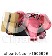 3d Pink Business Elephant Holding Boxes On A White Background