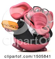 3d Pink Business Elephant Holding A Hot Dog On A White Background