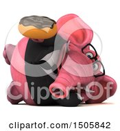 3d Pink Business Elephant Holding A Donut On A White Background