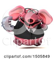 3d Pink Business Elephant Holding A Euro On A White Background