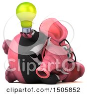 Poster, Art Print Of 3d Pink Business Elephant Holding A Light Bulb On A White Background