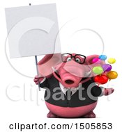 3d Pink Business Elephant Holding Messages On A White Background