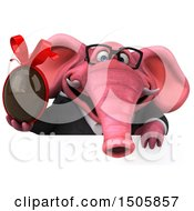 3d Pink Business Elephant Holding A Chocolate Egg On A White Background