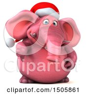 3d Pink Christmas Elephant Holding A Thumb Down On A White Background