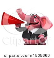 3d Pink Business Elephant Using A Megaphone On A White Background
