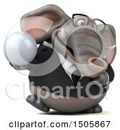 3d Business Elephant Holding A Golf Ball On A White Background