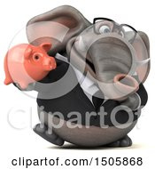 Poster, Art Print Of 3d Business Elephant Holding A Piggy Bank On A White Background